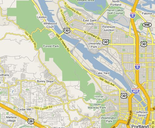 Forest Park Oregon Map Forest Park Portland Oregon Map | Map Of Us Western States